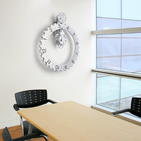 Wholesale Home Modern Gears Wall Clock Brief Creative Black Silver Decorative Wall Clock Bar Living Room Big Gears Clocks