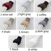 Wholesale Hot Sale Women Faux Rabbit Fur Hand Wrist Winter Warmer Fingerless Long Mitten Gloves
