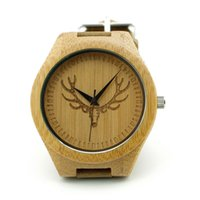 acrylic deer head - W00 DR Men s Wristwatches Vine Wood Deer Head Designer Bamboo Wood Wristwatches Retro Luxulry Brand Wooden Bamboo Watches Men