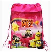 cute drawstring bag - 2015 Hot Cute Despicable me minions Non Woven Backpacks Drawstring Double Side Pocket Cartoon Children s School Bags kids shopping bag