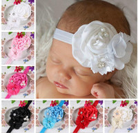 Headbands alloy composition - Europe take the lead in selling children s hairband with water drill chiffon flower alloy composition headband