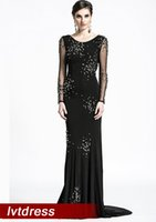 Wholesale Temperament Long Sleeves Black Pageant Dresses Mermaid Scoop Sweep Train elastic Cloth Beads sequins evening Gowns