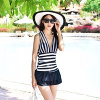 bathing breasts - 2016 Swimming Suit for Women Deep V neck Striped Swimsuit Slim Swimwear Small Breast Sheer Bathing Suit Beachwear One Pieces
