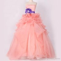 Wholesale 2015 A Line Wedding Dresses Colorful Pale Pink A line Bridal Gown For Maternity Bowknot Winter Ball Gown Corset and Tulle Wedding Dresses