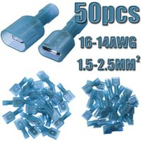 Wholesale 50pcs Female Male Spade Blue Models Nylon Insulated Terminals Electrical Crimp Connector AWG mm2 High Quality