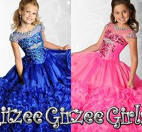 Wholesale 2015 Bright Crystal Girls Pageant Dresses Sheer Neck Cap Sleeves Tiered Organza Floor Length Blue Pink Ball Gown Flower Girls Dress