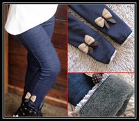 autumn cashmere jeans - New girls bow jeans cotton children cashmere pants kids warm elastic waist legging