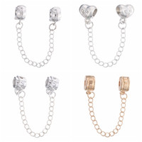 Wholesale Sterling Silver Bracelet Safety Chains - 18K Silver Plated Safety Chains Stop Beads Fit European Bracelets Heart Shaped Sterling Silver Jewelry Wholesale