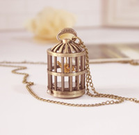 Wholesale Casual Fashion Cute Birdcage Pocket Watch Gold Bird Pocket watch Working Watch Bird Cage Vine Clock Necklace Small Watch