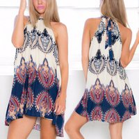 Wholesale Hot Sales Ladies Boho Mini Dress Cotton Blend Sexy Fashion Women Halter Floral Sleeveless Summer Casual Short Skirts QX183