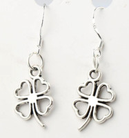 antique charm - 11 x34mm Antique Silver Open Heart Clover Charm Pendant Earrings Silver Fish Ear Hook Chandelier E368