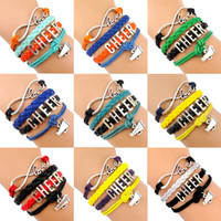 Wholesale Infinity Wish Love Cheer Cheerleading Cheerleader Megaphone Charm Wrap Bracelets Leather Wax Unisex Women Fashion Christmas Custom Design