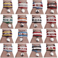 basketball team gifts - Creative Europe basketball team Bracelets letter combination hand woven leather cord Multilayer bracelets hit color bracelet styles