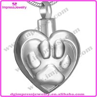 pet urns - IJD8020 cheap hot selling heart with pet paw L steel cremation urns ash jewelry pendant necklaces