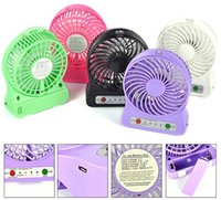 Wholesale MINI Rechargeable Li on Battery Fans Portable Indoor Outdoor Student Fans Strong Power LED Light Gear W Colorful Cooller Free DHL