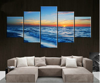 Wholesale 5 Piece Hot Sell Modern Wall Painting Art Picture Home Decorative Paint on Canvas Print The waves on the beach Seaside scenery