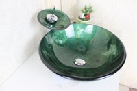 art glass vessel sink - Garden Art Tempered Glass Vessel Sink With Waterfull Faucet Set N