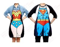 funny novelty aprons - 2015 new arrival Novelty Funny cartoon Superman Spider man Aprons Sexy Men Women Kitchen Cooking Chef Apron