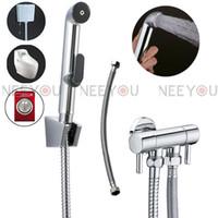 Wholesale NEW Double Handle Multifunction Bidet Spray Gun Bathroom washing machine Toilet ABS Bidet Sprayer Brass Tap Enhanced pressure Shower Set