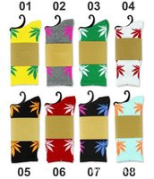 Wholesale free ship colors Hot High Crew Socks Skateboard hiphop socks Leaf Maple Leaves Stockings Cotton Unisex Socks