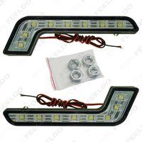 auto bulb types - 2pcs White V Watt LED SMD L Type Daytime Running Light DRL Auto Car Driving Front Lamp Bulb