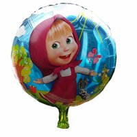 bear birthday decorations - 18 inch cm Masha and Bear Helium balloons kids aluminum birthday party decoration foil balloons children s toys HX