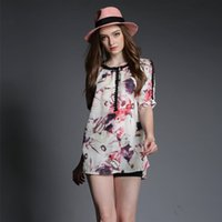 Wholesale Plus Size Women Casual Blouse Loose Wasit New Ladies Floral Print Blouse Chiffon Shirt High Quality Brand Designer Tops