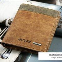 Wholesale Korean men s wallets purse new personalized fashion male cow split leather purse wallet