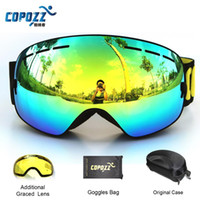 Wholesale COPOZZ brand ski goggles double lens UV400 anti fog spherical ski glasses skiing men women snow goggles GOG Lens Box Set