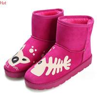 Nueva llegada 2015 mujeres de la nieve Botas Moda Invierno Zapatos cálida mujer pescado impresos botas con piel de chicas Botas Zapatos de la nieve Rose Negro SV028403