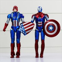Wholesale 2 Styles Captain American Super Hero PVC the Avengers figure cool modle for Kids Toy New High Quality