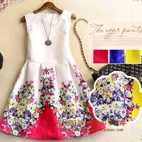 korean - Korean women round neck sleeveless big flower Spot printing ruffle vest dress casual dresses womens clothing