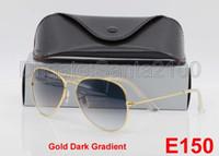 alloy dark blue - 1pcs Hot Sale Women Men Gradient Sunglasses Designer Classic Pilot Sun Glasses Metal Eyewear Gold Dark mm Glass Lenses UV400 Box Case