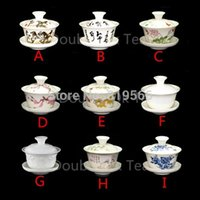 ceramic cup and saucer - 1505 ml Chinese Ceramic Gaiwan Cup Porcelain Kun Fu Tea Set Fine Bone China Drinkware Tea Cups And Saucers Choices