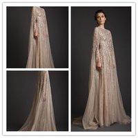 fancy dress sexy - 2015 New Arrival Kaftan Dubai Fancy Scoop Sequins Beadings A Line Sweep Train Net Islamic Evening Dresses Prom Gown Custom Made