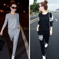 Cheap 2014 Casual Women Tracksuits Sport Suits Sports Wear For Long Sleeve Sweatshirt and Trousers Casual Pants Set SV07 SV006668