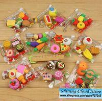 animal food erasers - Free ship bag Cartoon PVC bag simulation eraser food tool animal erasers model for choice