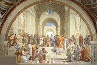 athens blue - Raffaello Sanzio The school of athens background picture Art Silk poster quot x36 quot inch