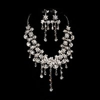 Cheap 2015 Luxury bridal jewelry piece Yarn wedding dress show party with jewelry necklaces earrings