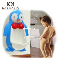 Wholesale Large Cartoon penguin baby potty wall hung kids toilet portable potty training toilet boys pee trainer child urinal Potty HK557