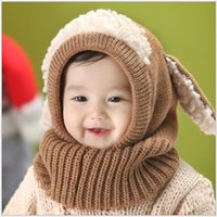 baby winter gloves - Baby Boys Girls Hats Splicing Scarf with Dog Ears Brand Kids Winter Crochet Earflaps Caps Glove Solid Sets Warmth Red Yellow Blue Pink K2096