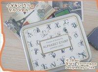 antique work boxes - DHL sets New Creative Antique flower stamp set Decorative DIY funny work Iron box set Upper case