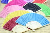 solid - R H elegant women s imitation silk bamboo folding fans solid colors inches solid colors drop shipping bridal fans