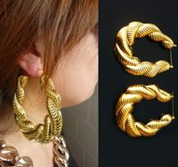 Wholesale New Retro Punk Nightclub Earrings Gold Tone Women Bamboo Big Hoop Large Circle Twist Earring Hiphop Jewelry CY