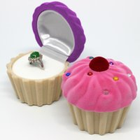 Cheap Elegant Cup Cake Shape Velvet Ring Box Earring Jewelery Case Gift Boxes Trinket jewelry box ring box necklace gift box Gift For Women ZB0262