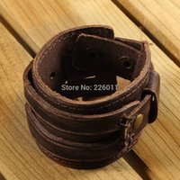 Wholesale 5 Brown Genuine Double Wide Bracelet Wristband Men Boys Cowhide Leather Buckle Punk Cuff new