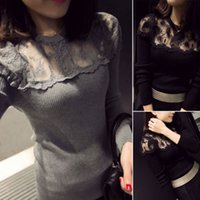 blouse free size - Women Sexy Lace Blouse Sheer Splicing T Shirt Long Sleeve Slim Knitwear Tops Blouse Black and Gray Free Size