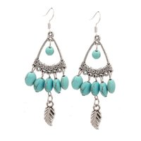 best grilling accessories - New Fashion Women Accessories Vintage Triangle Turquoise Cute Drop Earrings with Smal Leaf Best Christmas Gift