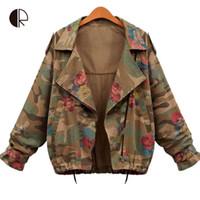Wholesale 2015 New Women Denim Jackets Autumn Fashion Long Sleeve Zipper Vintage Army Green Camouflage Jacket Flower Print Bomber Coats