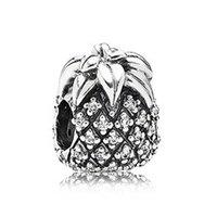 Wholesale Fruit Sterling Silver Silver Sparkling Pineapple Charm Sterling Silver European Beads Fit Pandora Style Bracelet Cz Lw386